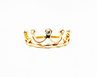 Size 5 Crown Ring, Unique Ring, Crown Gold Ring, Gold Crown Ring, Men Ring, Women Ring, Gold Ring, Crown Diamond Ring