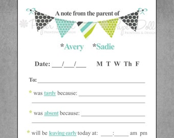 """Parent Excuse Notepad, School Note, Child Excuse Note, Pennant Flag Banner in - """"From the Parent of"""" - Personalized Custom Notepad - Hillary"""