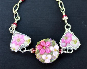 Bracelet, Broken China Jewelry, Broken China Bracelet, Lampwork Bead, Heart Charms, Pink Floral China, Sterling Silver, Soldered Jewelry