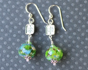 Lampwork Earrings, Lampwork Jewelry, Lampwork Bead Earrings, Green Beads, Dangle Earrings, Sterling Silver