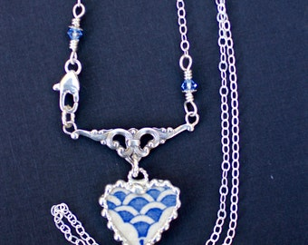 Necklace, Broken China Jewelry, Broken China Necklace, Heart Pendant, Blue and White China, Sterling Silver, Soldered Jewelry