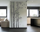 Birch Tree Wall Decal Forest Large Trees Decals Nursery Sticker Living room Bedroom Home Decor Birds Removable Vinyl Stickers Wall Mural 96""