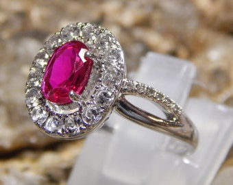 Ruby and White Topaz Sterling Ring