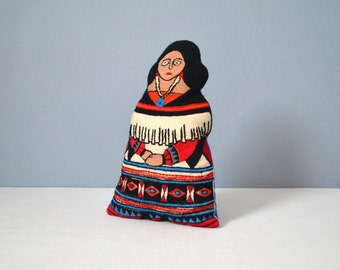 Vintage Embroidered Native American Stuffed Doll
