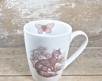Fox and Owl Mug, Moth, 16 oz Coffee Mug, Large Tea Hot Chocolate or Coffee Cup, Foxes and Owls, Ready to Ship