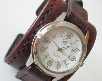 Antique Brown Leather Watch Cuff Men's Wrist Watch Bracelet Watch, Mens Gift