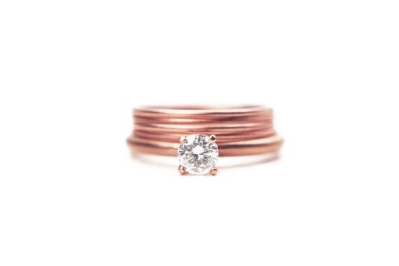 Rose Gold Simple Engagement Ring 14k Eco Friendly White