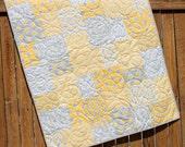 Yellow Gray Baby Quilt, Mixologie Quilt, Baby Boy Quilt,Yellow Gray White, Crib Quilt, Polka Dot, Gender Neutral, Handmade, Blanket, Moda