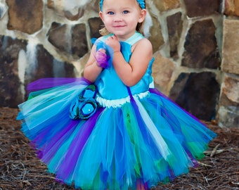 Blue Green Purple Flower Girl Tutu Dress Floor Length Sewn Tutu Dress with Satin Corset Style Top and Satin Flower Hair Clip CUSTOMIZABLE
