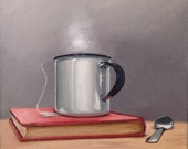 """Original Oil Painting Entitled, """"Red book, Spoon, Tea"""" ~ Still Life Realism Canvas 10"""" Square Wall Art Painting, Vintage Still Life"""