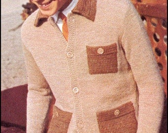 No.422 Teen Boy's & Men's Cardigan Sweater With Collar And Pockets - PDF Vintage Knitting Pattern - 1960's Retro Knitting Pattern
