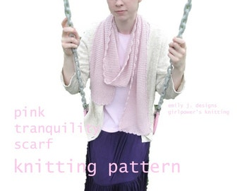 Easy Scarf Knitting Pattern, Garter Stitch, Crochet Edging, Pink Tranquility, Lace Weight Yarn