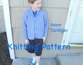 Adam Cardigan Sweater Knitting Pattern, Boys & Girls, Shawl Collar, Size 1 2 4 6 8 10 12, Chunky Yarn