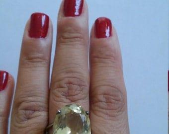 Gorgeous Lemon Quartz Filigree Silver Sterling Ring