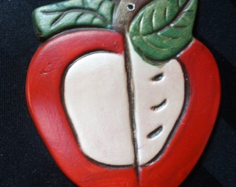 Vintage Hand-Painted Ceramic Red Apple Ornament