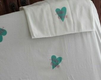 Personalized Crib Sheet & Burp Cloth Combo Gift Set