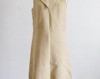 Tan Wool Dress. SM MED. Private Label Bonwit Teller. Vintage Sleeveless Dress, 50s MidCentury Fashion, Casual Dress, Knee length, Zipperback