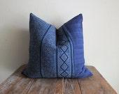 20x20,Hmong Indigo Batik Pillow-Cushion covers, New Cotton Textile, Natural Indigo Batik, Tribal, Indigo- Hmong Accent Pillow - Tribal Decor