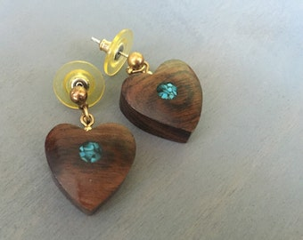 Vintage Wood Turquoise Heart Earrings Handmade Wooden Jewelry Gift for Her