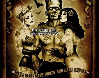 Tattooed, Zombie, Pinup, Hotrod, Lowbrow, Art Print by Marcus Jones