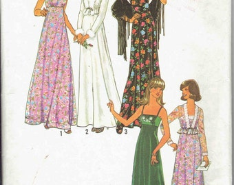 70s High Waisted Maxi Dress with Spaghetti Straps and Unlined Front TIe Cropped Jacket Simplicity 7807. Size 8 Bust 31.5 inches.