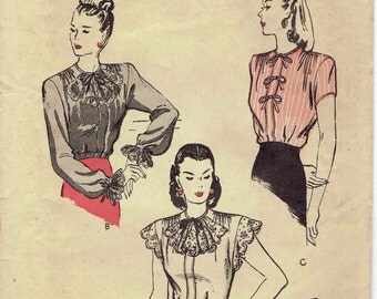 40s Back Button Blouse with Jabot and Bow Options, Long or Cap Sleeves, 3 Versions Butterick 3694. Vintage Size 12 Bust 30 in.