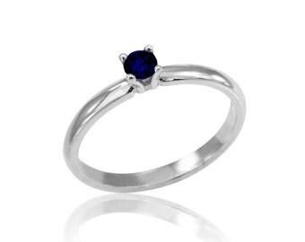 Sapphire Engagement Ring, 14K White Gold Sapphire Ring, Solitare Sapphire Ring, Sapphire Band, Free Shipping