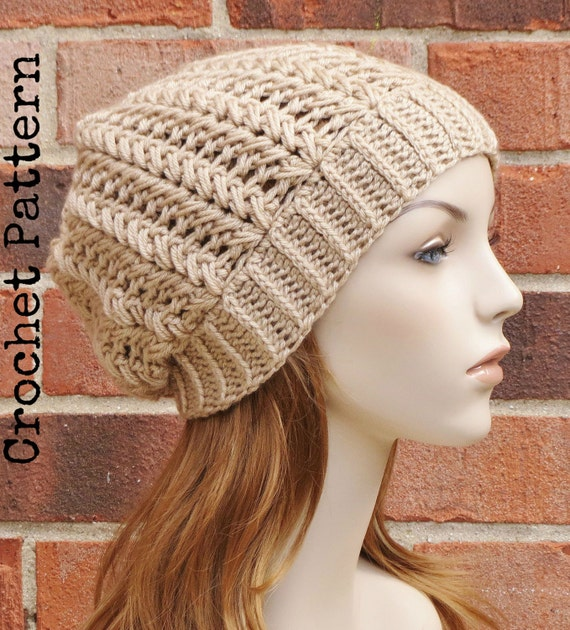 Herringbone Stitch Knit Hat Pattern : CROCHET HAT PATTERN Instant Pdf Download Harper Slouchy