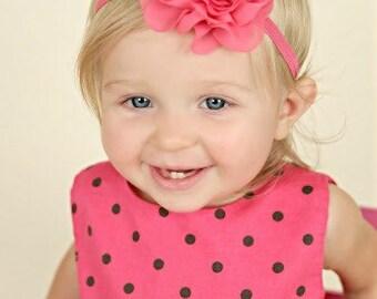 Bright Pink Headband - Hot Pink - Fuchsia - Newborn - Baby Girl - Wedding - Flower Girl - Rose Headband