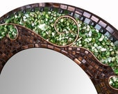 Large Green Mosaic Mirror - Beautiful Round Mosaic Art Mirror with Stained Glass, Shell, Glass Mosaic Tile and Copper Wire Design