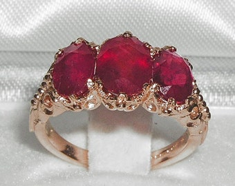 14K Rose Gold Precious total 4ct Ruby Ring, 3 Stone English Vintage Design Ring, Prong Setting Trilogy Engagement Ring - Made in England