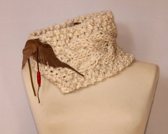 Cable Knit Scarf,  Rustic Ivory Choker Scarf, Cowl Chunky Scarf with Leather Leaves, Carnelian Bead, Women Winter Fashion Unique Gift Idea