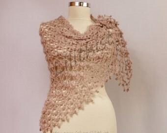 Wedding Shawl, Bridal Shawl, Crochet Lace Shawl, Cape, Bridal Wrap, Wedding Cover Up, Champagne Beige Crochet Shawl,  Women Crochet Wear