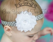 Gray White Polka Dot Print Shabby Flower Headband Photo Prop - Newborn Baby Hairbow Little Girls Hair Bow Neutral Grey Birthday Color Hair