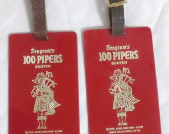 Vintage Seagrams 100 Pipers Scotch Whiskey Luggage Tags Red Plastic Leather Holiday Traveling