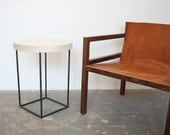 Crescent Side Table - Solid Maple with Blackened Steel Base