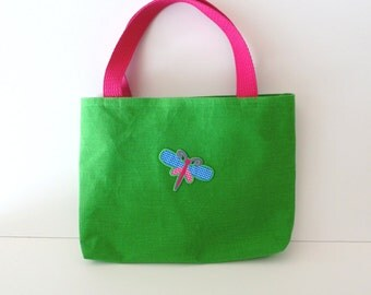 Dragonfly Gift Bag Tote/Green and Pink Dragonfly Purse Tote - Dragonfly Bag - Dragonfly Tablet Tote