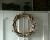 Driftwood Wreath with Paper Flowers - Beach, Lake, Cottage Decor