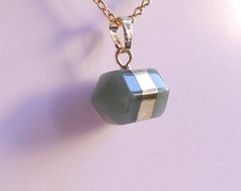 Hexagon Gemstone necklace. Green Aventurine hexagon. Gold tone. Geometric jewelry. Boho necklace. Everyday necklace