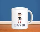 Sports Kids Personalized Mug - Sports Boy with Name, Child Personalized Ceramic Mug Gift