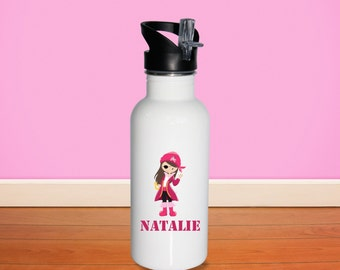 Pirate Kids Water Bottle - Pirate Girl with Name, Child Personalized Stainless Steel Bottle BPA Free Back to School