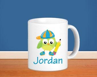 Owl Kids Personalized Mug - School Owl with Name, Child Personalized Ceramic or Poly Mug Gift