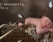 Newborn Crochet Deer Hat and Diaper Cover- Baby Hat, Deer hat, Photo Prop Baby Boy Girl