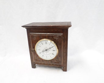 Quimper Clock Dollhouse bonnetiere Carved Oak Wood Miniature Rustic Breton (v424) Free shipping