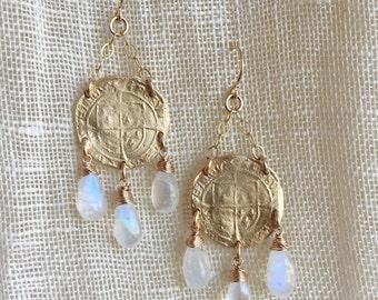Tudor Chandelier Earrings with rainbow moonstone