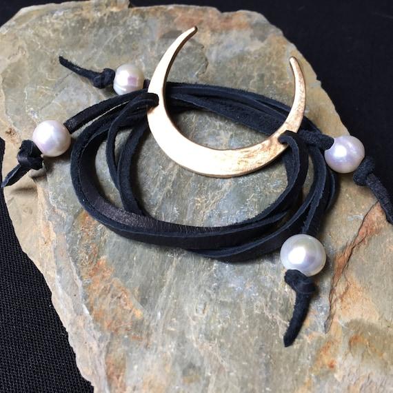 Wrap Bracelet La Luna Crescent Moon Bronze & Leather