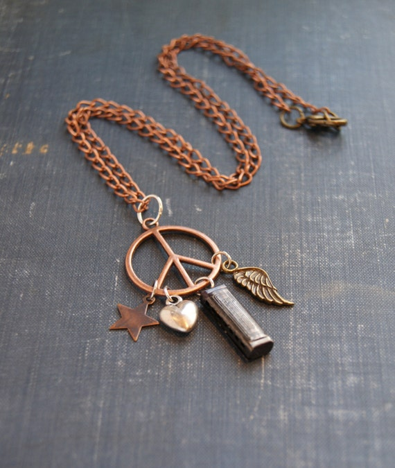 Boho Peace Necklace Hippie Charm Necklace Peace Sign Jewelry Peace Symbol Necklace Harmonica Necklace Hippie Necklace Bohemian Hippie Peace