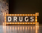 Vintage Sign / 1910's/ Original Milk Glass Light Up Drugs Sign / From The Watson's Drug Store In Orange, California / Pre Neon Bulb Sign