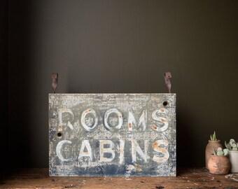 Vintage Sign / 1950's / Original Rooms & Cabins Motel Neon Sign Can / Vintage Roadside Advertising