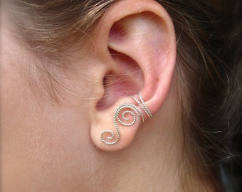 Sterling Silver Twisted Wire Ear Cuff, Left or Right Ear